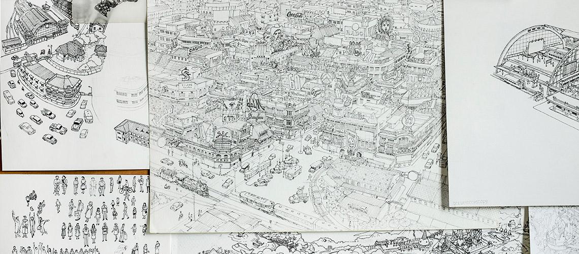 ภาพวาดเมืองดีเทลละเอียดยิบของการุญ เจียมวิริยะเสถียร