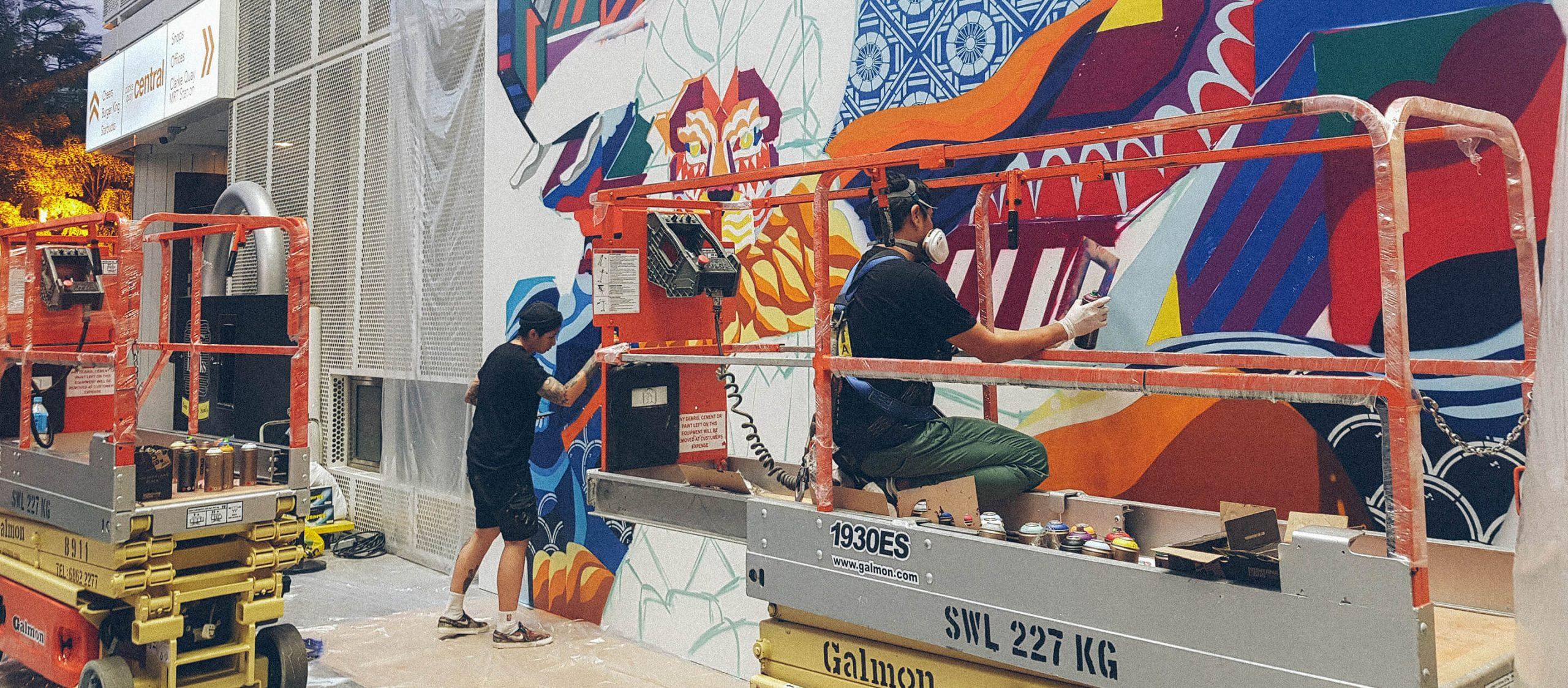 จากภาพร่างสู่ภาพจริง เบื้องหลังงาน mural collaboration ของ Rukkit & Sam Lo ศิลปินไทยและสิงคโปร์