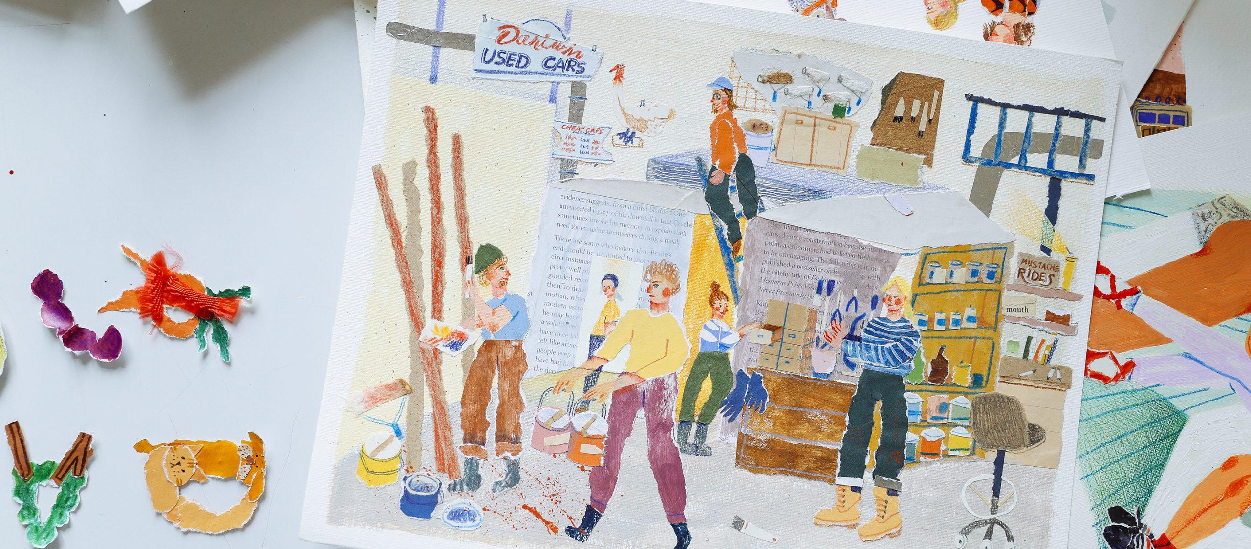 สตูดิโอในบ้านของ Aura Cherrybag ศิลปินนักฉีกแปะกระดาษที่มีความสดใสเป็นลายเซ็น