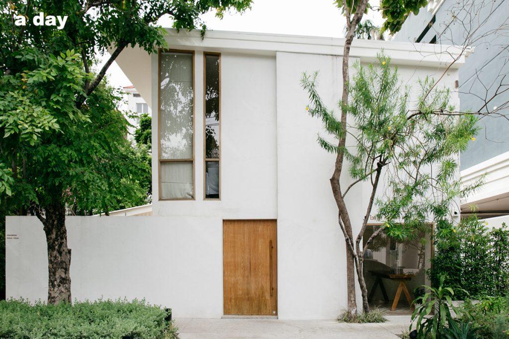 White Wood Green Spa Front Door